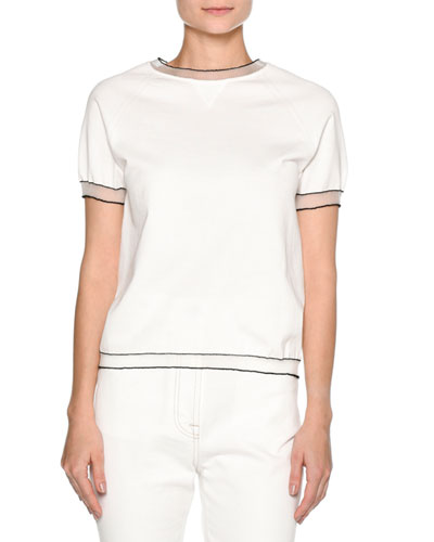 Sheer-Trim Short-Sleeve Sweater, White