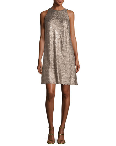 Sleeveless Sequin Swing Dress, Gold
