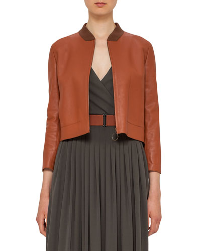 Perforated Leather Bomber Jacket, Wood