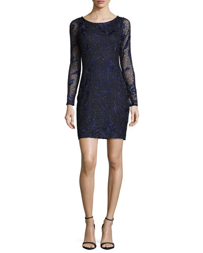 Long-Sleeve Beaded Floral Cocktail Dress, Navy