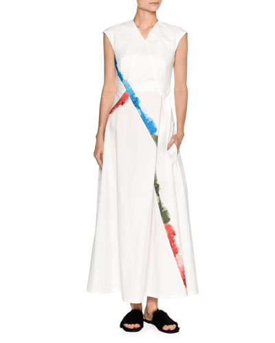 Rainbow-Trim Cap-Sleeve Maxi Dress, White