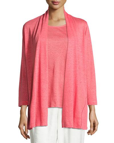 Linen Knit Midi Cardigan, Coral, Petite