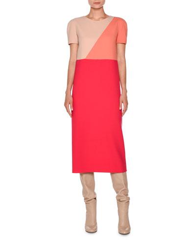 Short-Sleeve Geometric Midi Dress, Hibiscus/Nude/Coral