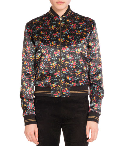 Bouquet-Print Satin Bomber Jacket, Multi