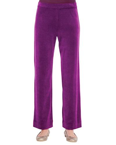 Solid Velour Pants, Plus Size