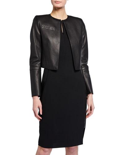 Hasso Cropped Napa Leather Jacket, Black