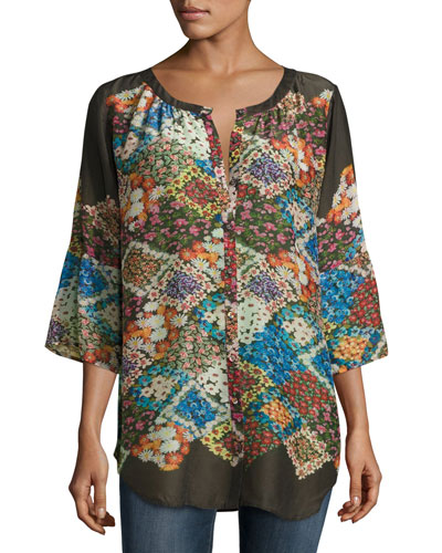 Tempo Button-Front Floral-Print Georgette Top