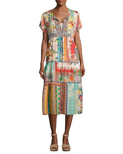 Power Scarf Printed Long Dress