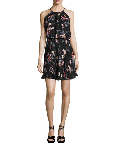 Makana Floral-Print Sleeveless Dress, Black