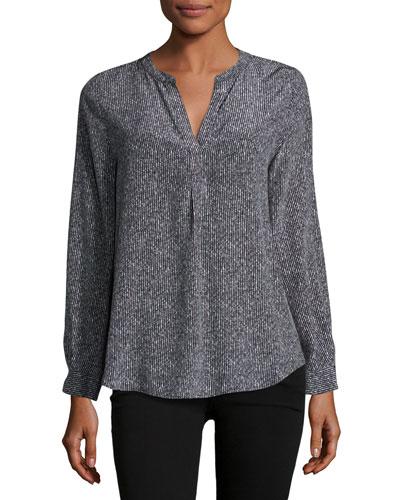 Peterson Long-Sleeve Silk Top, Black
