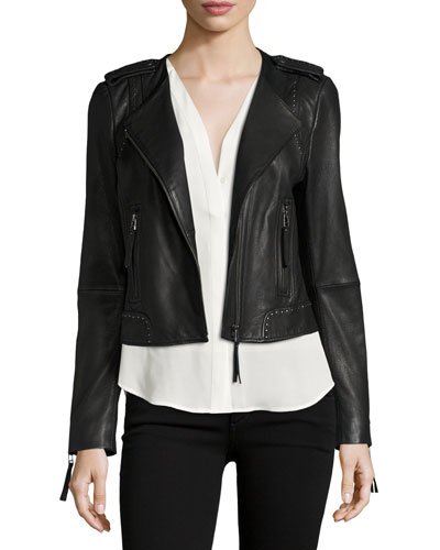 Margolin Studded Leather Moto Jacket, Black
