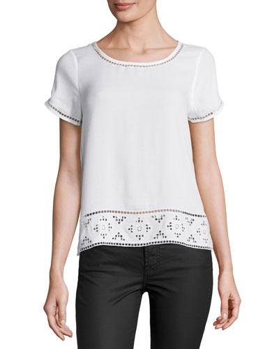 Kadence Lace-Trim Short-Sleeve Top, White