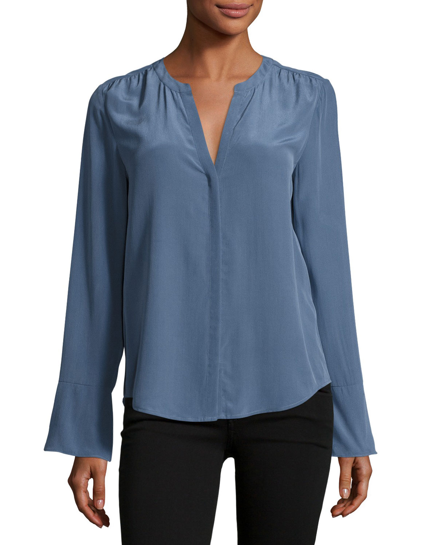 Ceegan Long-Sleeve Silk Top, Blue