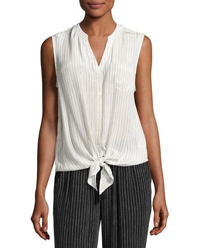 Edalette Sleeveless Tie-Hem Top, White