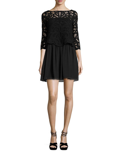 Joie Lace-Top 3/4-Sleeve Dress, Black