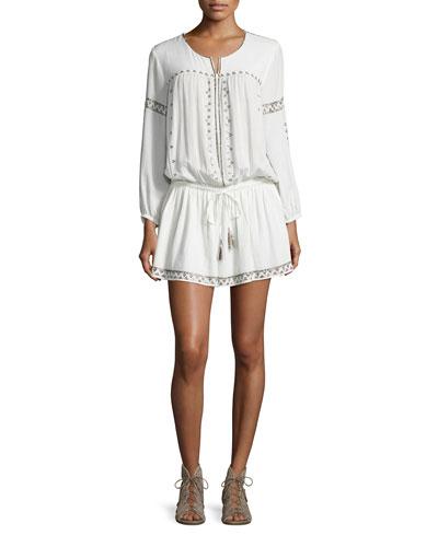 Laka Metallic-Trim Blouson Mini Dress, White