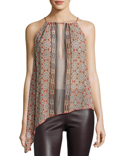 Lillian Printed Georgette Halter Top, Multicolor Pattern