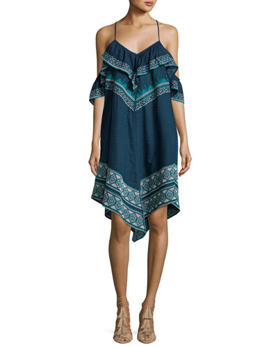 Deirdre Printed Cold-Shoulder Handkerchief-Hem Dress, Blue