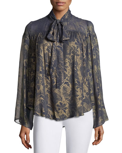 Lindsey Metallic Floral-Print Georgette Blouse, Grayish Blue