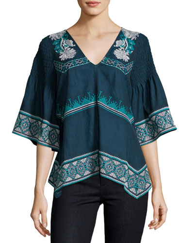 Giselle Embroidered V-Neck Top, Blue