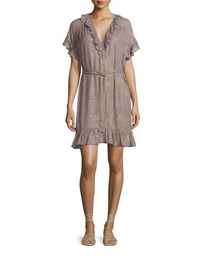 Charlotte Floral Metallic Ruffle Mini Dress, Gray