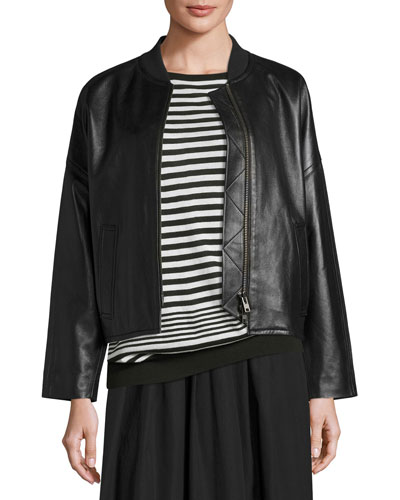 Drop-Shoulder Leather Bomber Jacket, Black