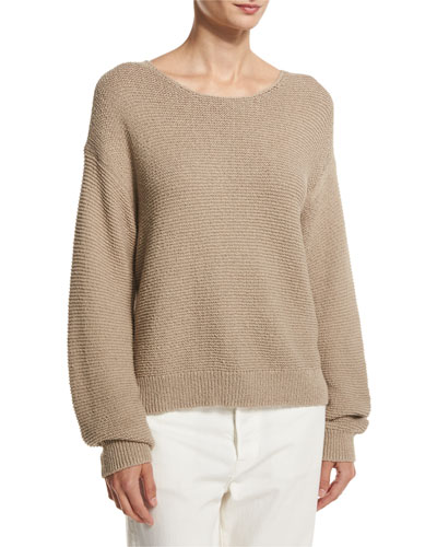 Textured Cotton Pullover, Light Brown