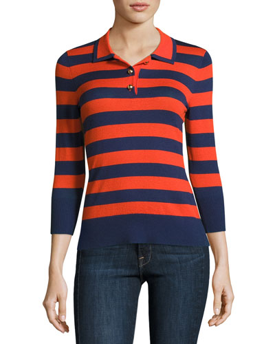 Rugby-Stripe Polo Sweater, Navy/Tomato
