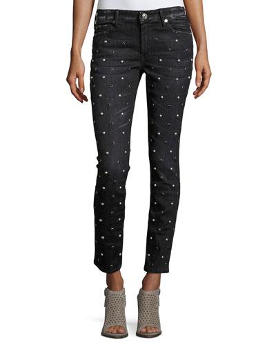 Halle Embellished Mid-Rise Super Skinny Jeans, Black Moonstone