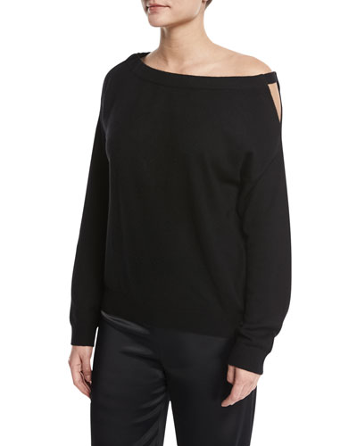 Off-the-Shoulder Cashmere Cutout Tunic, Black