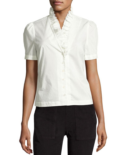 Ruffle-Neck Short-Sleeve Blouse, Blanc