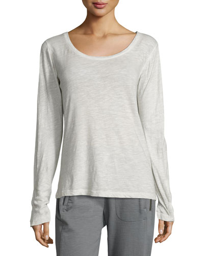 Monica Long-Sleeve Heathered Tee, Light Gray