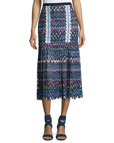 Diana C Chevron Lace Midi Skirt, Multicolor