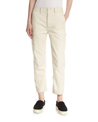 Carpenter Cropped Chino Pants, White