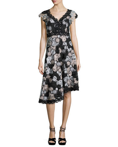 Cap-Sleeve Asymmetric Floral Lace Dress, Black/Silver