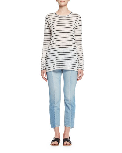 Aaron Long-Sleeve Striped Tee, Ivory