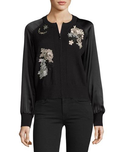 Jeweled Embroidered Wool Bomber Jacket, Black