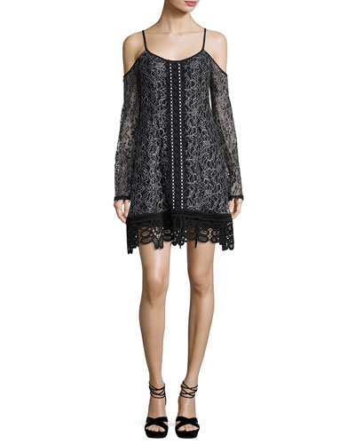 Cold-Shoulder Embroidered Lace Mini Dress, Black/Silver