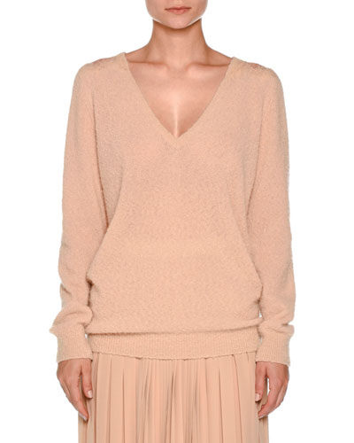 Lace-Yoke V-Neck Boucle Sweater, Taupe