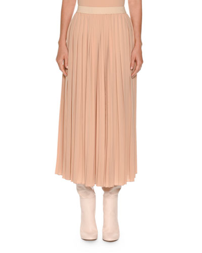 Pleated Silk Midi Skirt, Rose