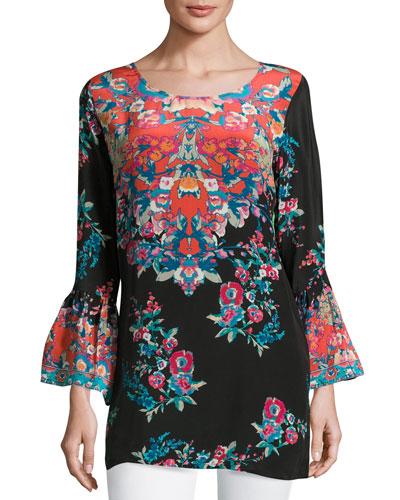 Belle Floral-Print Silk Tunic, Plus Size