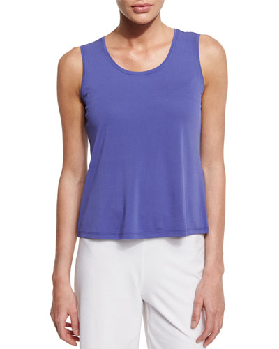 Scoop-Neck Silk Tank, Periwinkle, Petite