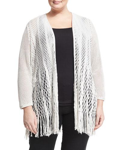 Enchanted Loose-Knit Cardigan, Multi Pattern, Plus Size