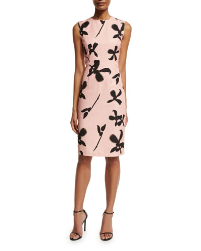 Sleeveless Floral Faille Sheath Dress, Light Pink