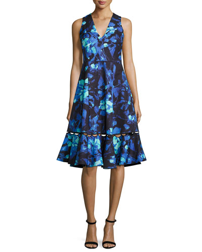 Sleeveless Abstract Floral A-Line Dress, Azure Blue
