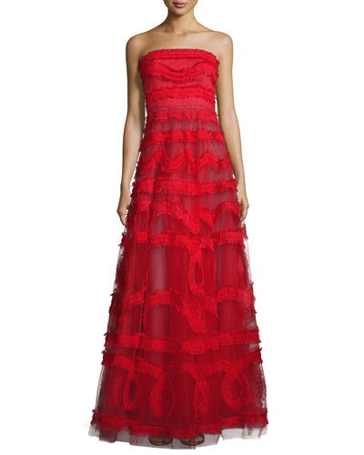 Strapless Embroidered Tulle Ball Gown, Red