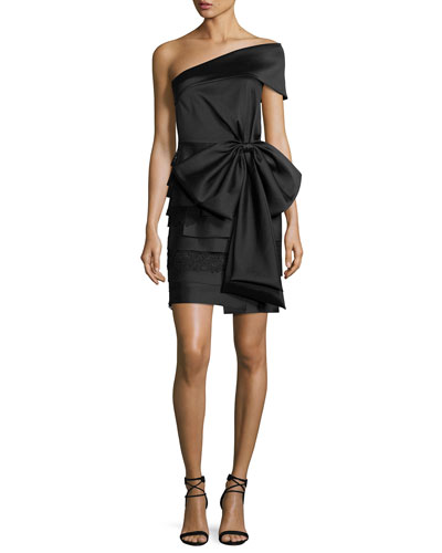 Tiered Satin Cocktail Dress, Onyx