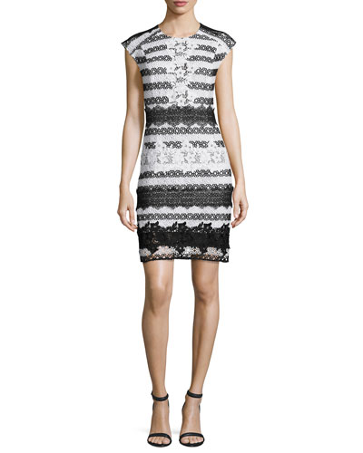 Cap-Sleeve Striped Guipure Lace Cocktail Dress, Black/White