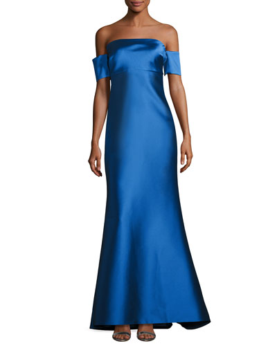 Strapless Stretch Satin Mermaid Gown, Medium Blue