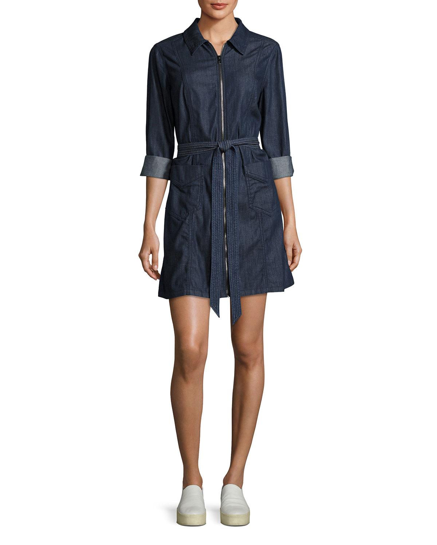 Zip-Front Belted Denim Dress, Indigo